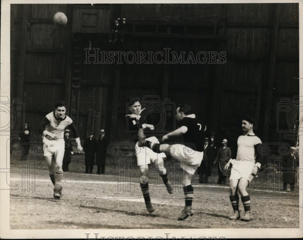 1936 Press Photo Soccer Center-Forward George Stady, at right, at Luna Park - Historic Images
