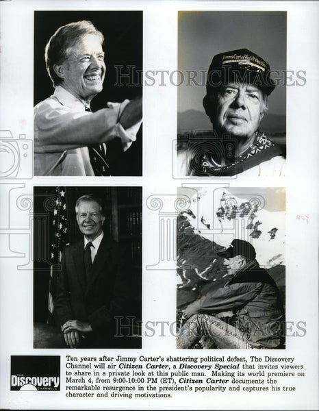 1991 Press Photo Jimmy Carter is profiled on Citizen Carter on Discovery Channel - Historic Images