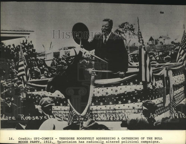 1912 Press Photo Theodore Roosevelt address gathering of Bull Moose Party - Historic Images