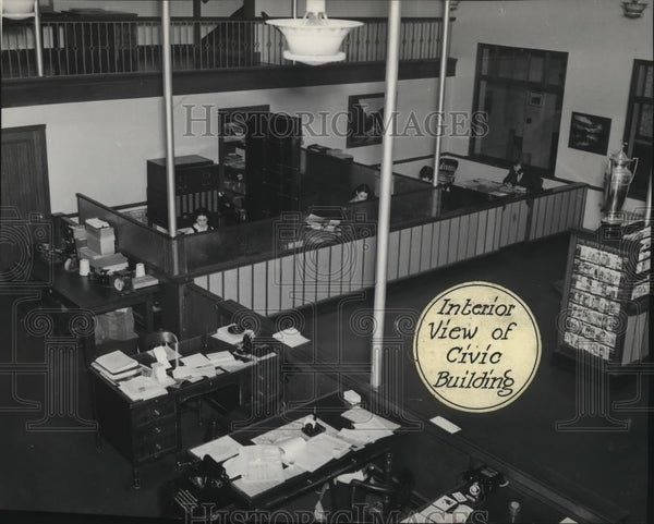 1936 Press Photo Interior View of Civic Building for Chamber of Commerce Spokane - Historic Images