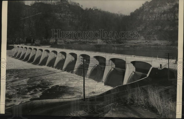 1936 Press Photo General view of the Hawk's Nest Dam in West Virginia - Historic Images