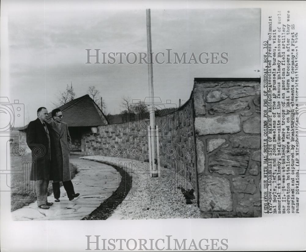 Wire photo associated press columnists visit malmedy massacre
