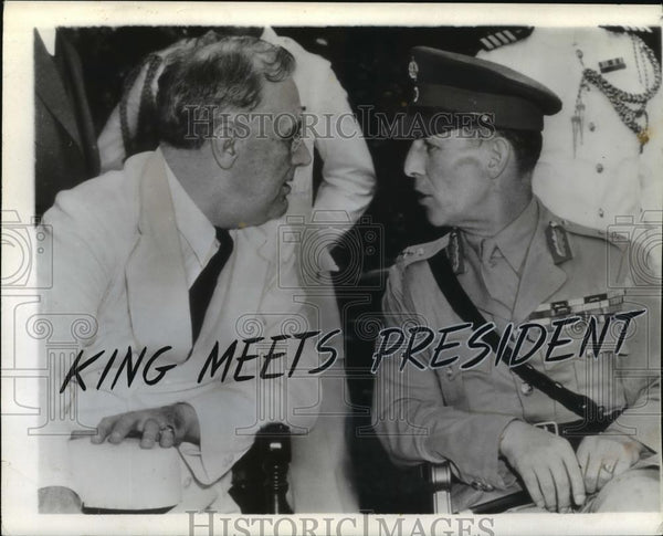 1942 Wire Photo King George II of Greece & President Roosevelt at White House - Historic Images