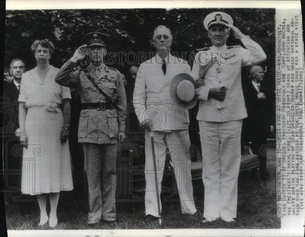1942 Wire Photo President & Mrs. Roosevelt w/ King George II of Greece - Historic Images