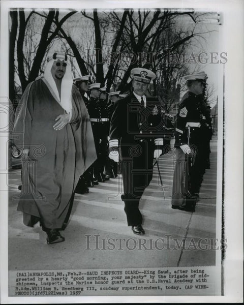 1957 Wire Photo King Saud of Saudi at US Naval Academy in Annapolis, Md - Historic Images