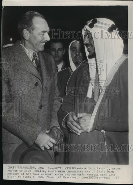 1947 Wire Photo Amir Saud, crown prince of Saudi Arabia chats with Dean Acheson - Historic Images