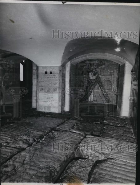1947 Press Photo Stones uncovered in a Roman Catholic church - spx10146 - Historic Images
