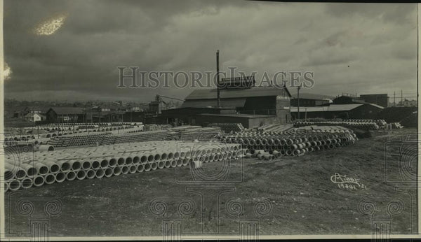 1935 Press Photo Spokane Concrete Pipe - spx10276 - Historic Images