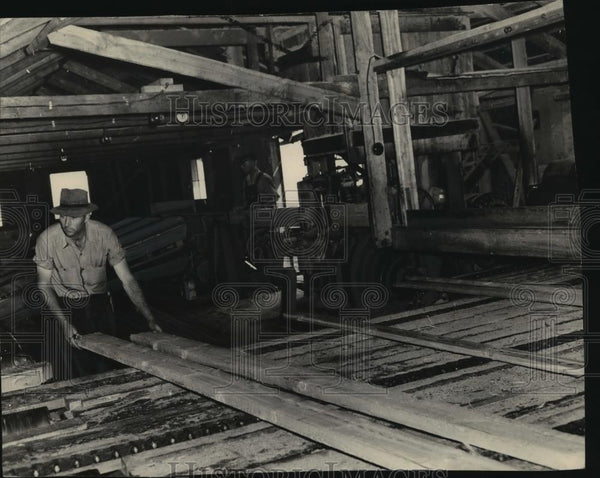 1949 Press Photo View of the interior of a sawmill - spx10953 - Historic Images