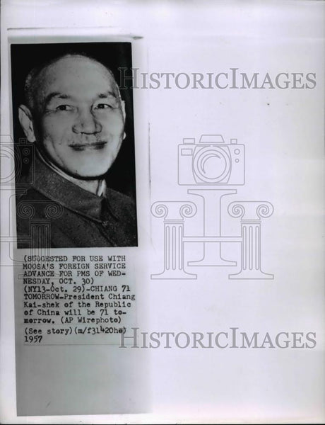 1957 Wire Photo President Chiang Kai-shek of the Republic of China - spw00708 - Historic Images