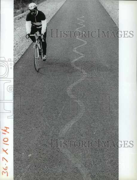 1991 Press Photo A bicyclist rides along the Idaho Centennial Trail - spa37256 - Historic Images