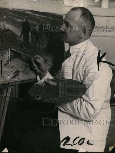 1922 Press Photo John Wehr barber & artist at his paint easle - neo00853 - Historic Images