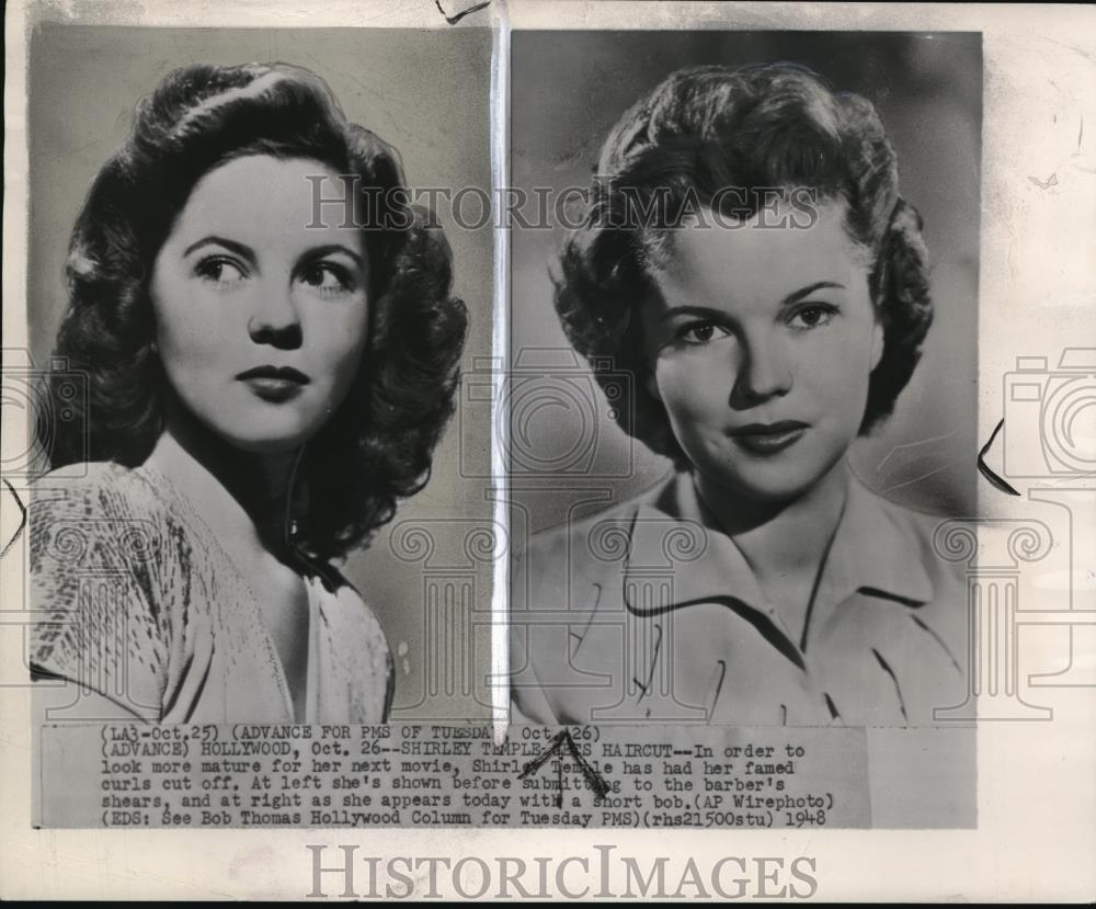 1948 Wire Photo Shirley Temple Gets Haircut For Her Next Movie