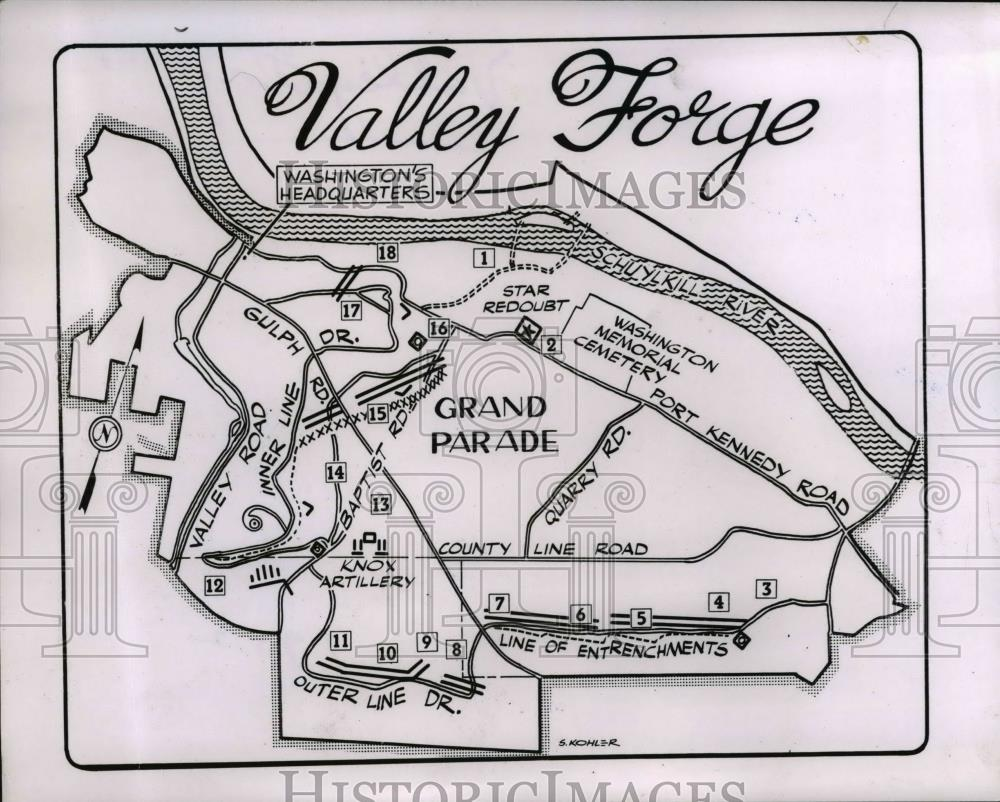 1952 Press Photo Valley Forge Map