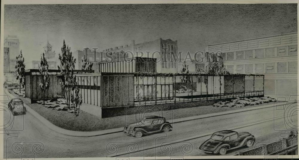 1947 Press Photo Information center Chamber of Commerce sketched by John Yeon - Historic Images