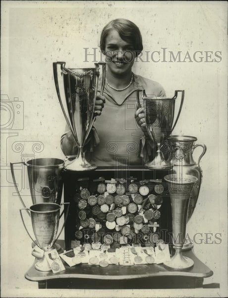 1926 Press Photo Swimmer Florence Skadding Shown With Her Trophies - nef54579 - Historic Images