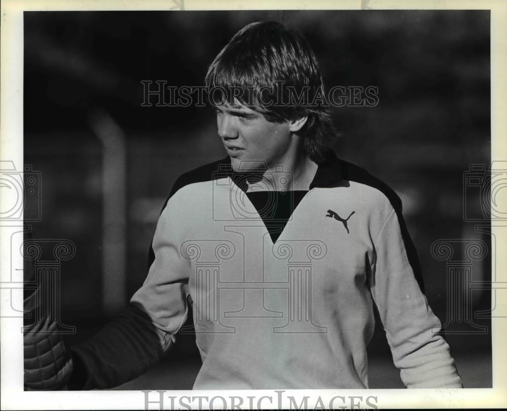 1983 Press Photo Sunset High School soccer goalkeeper Duane Johnson - orc10454 - Historic Images