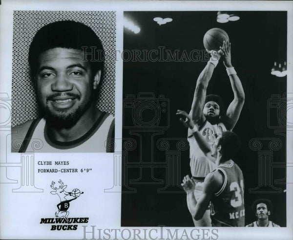 Press Photo Clyde Mayes Forward-Center 6-9 Milwaukee Bucks - orc13278 - Historic Images