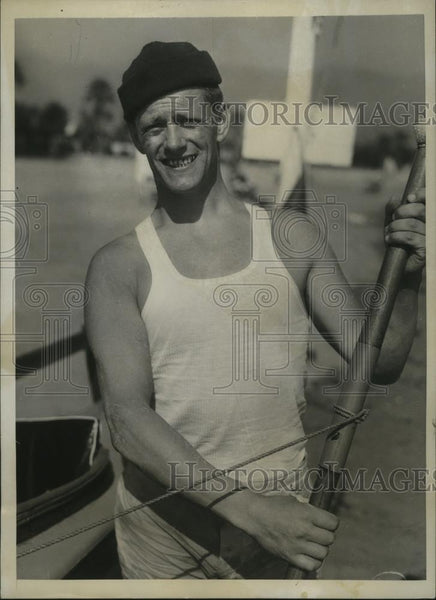 1934 Press Photo Helmar Ericson wins 21 Mile Kayak Marathon in Santa Barbara - Historic Images