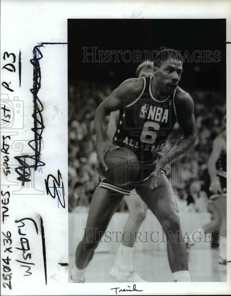 1987 Press Photo Philadelphia's Julis Erving in his last NBA All Star Game - Historic Images