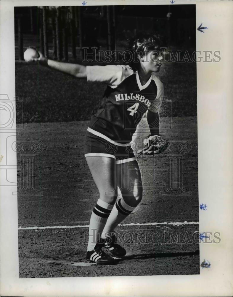 1978 Press Photo WInding Up- Hillsboro pitcher, Becky Smith - orc11286 - Historic Images