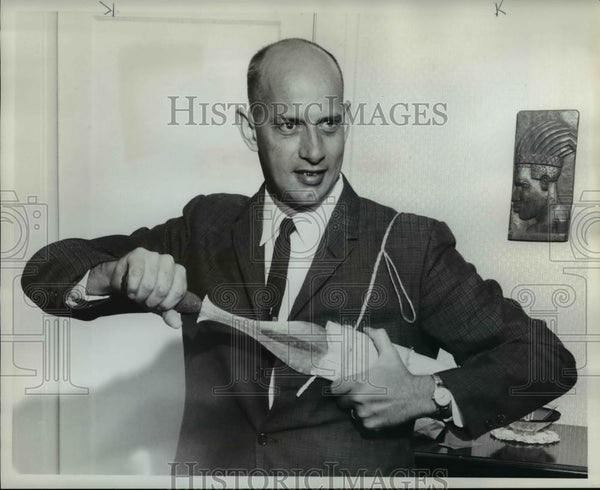 1961 Press Photo Dr. John Zook Wearing Sword In Native Style - orb02035 - Historic Images