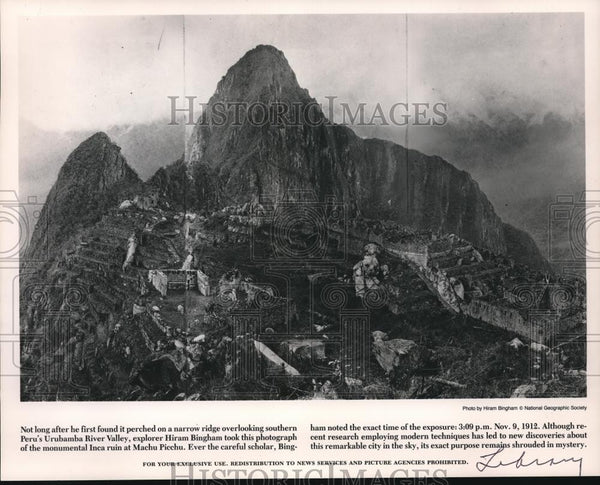 1912 Press Photo monumental Inca ruin at Machu Picchu - orb09253 - Historic Images