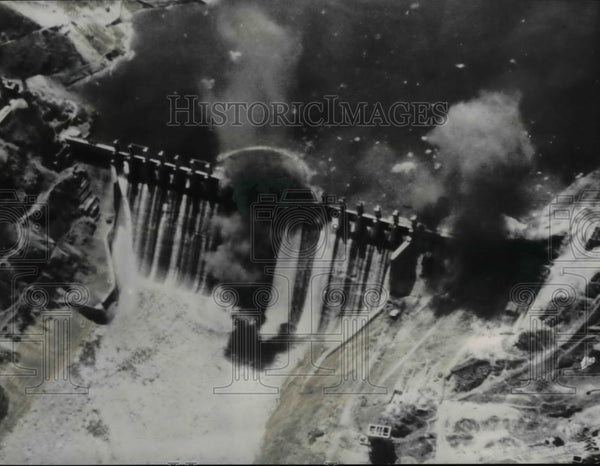 1951 Press Photo The Red-held Hwachon reservoir had a direct hit with a torpedo - Historic Images