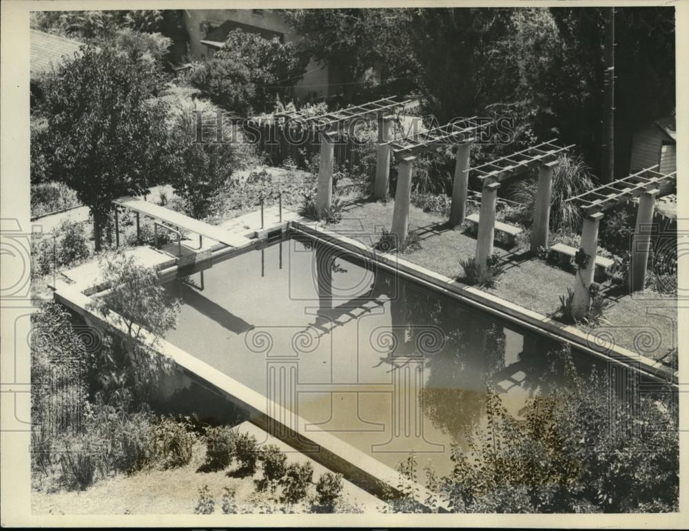 1928 Press Photo Aerial view of the pool at Herbert Hoover's home - spa10770 - Historic Images