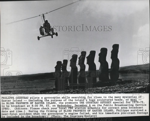 1978 Press Photo Philippe Cousteau pilots a gyrocopter searching for clues - Historic Images