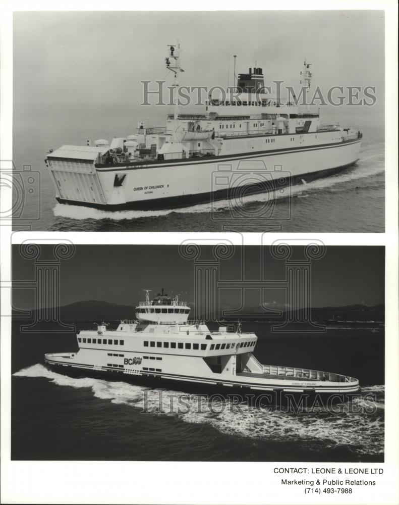1994 Press Photo BC Ferries Queen of Chilliwack and Queen of Capilano -  spa47296
