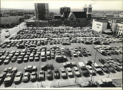 1979 Press Photo Aerial View Of Packed Parking Lot