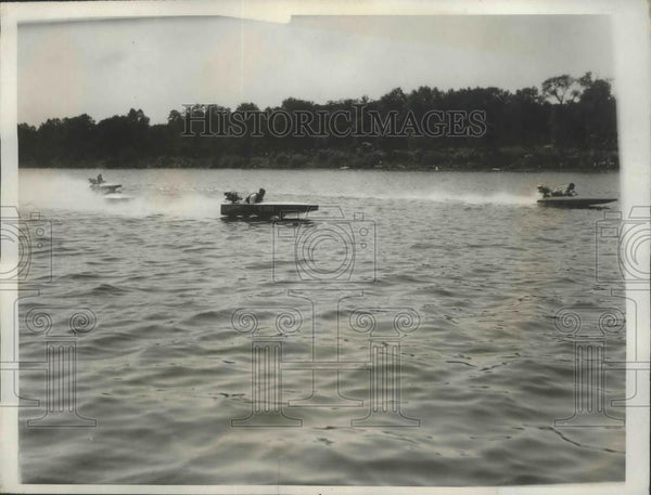 1932 Press Photo Speedy Boats during the first class race in Natl. Outboard Race - Historic Images