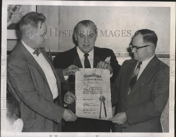 1958 Press Photo Frederick Phelps,Fred E. Nichols & Baseball GM Spencer Harris - Historic Images
