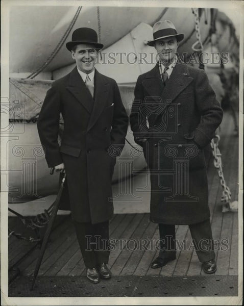 1928 Press Photo New York Arrivals William B Leeds and Louis Chiron NYC - Historic Images