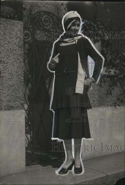 1929 Press Photo Cyber Fashion Coat Frock - neo18445 - Historic Images