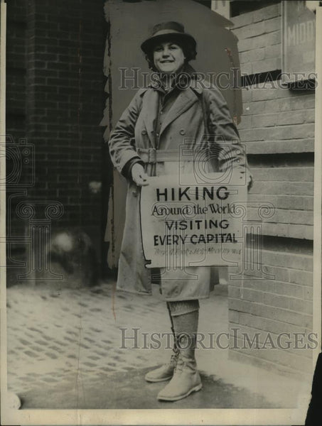 1924 Press Photo Woman Walker, Nellie Walker, Reaches Baltimore from Las Angeles - Historic Images