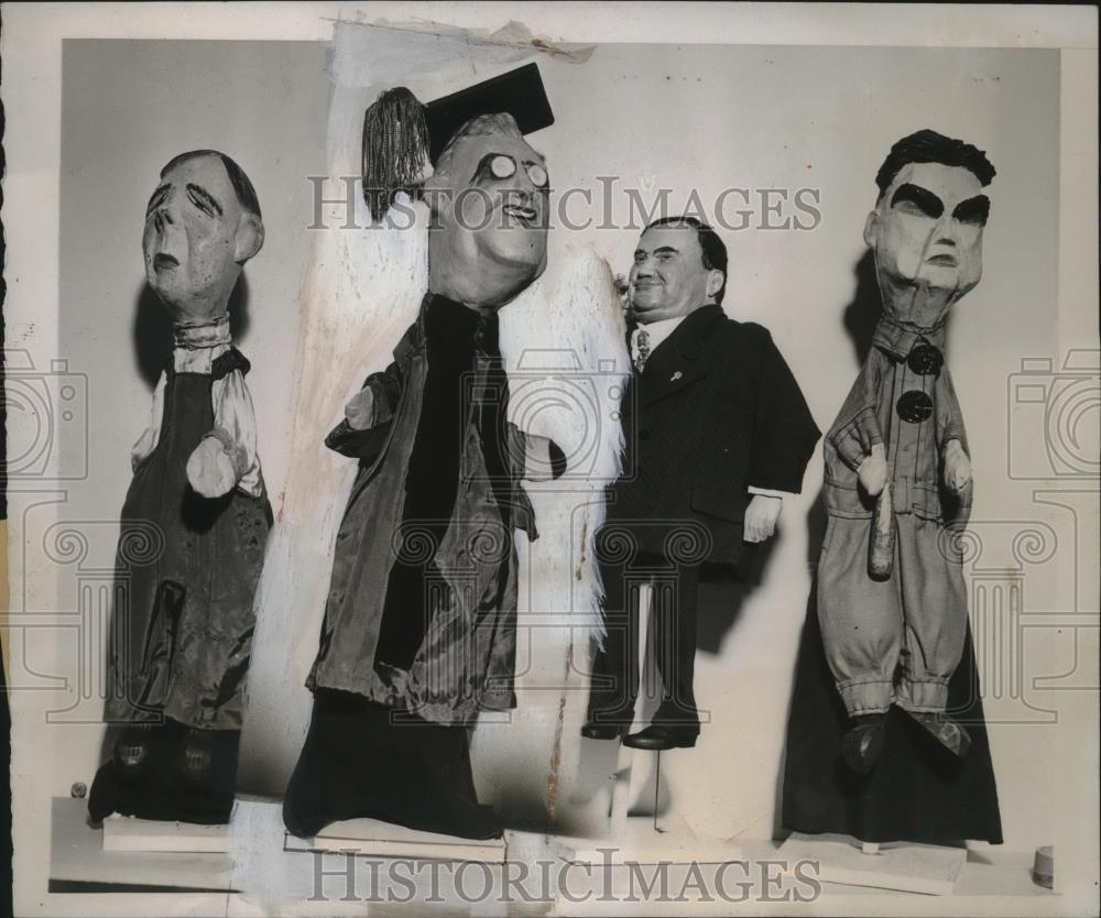 1940 Press Photo Political Puppets at Sachs Furniture Store Exhibit, New York - Historic Images