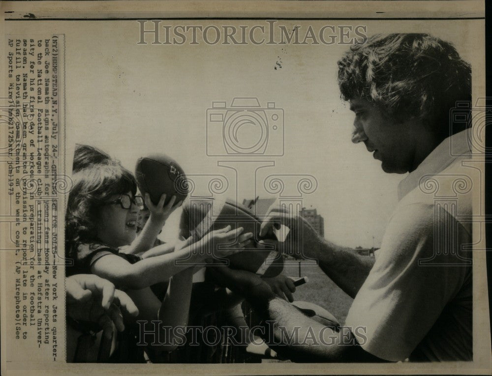 1973 Press Photo New York Jets quarter Joe Namath