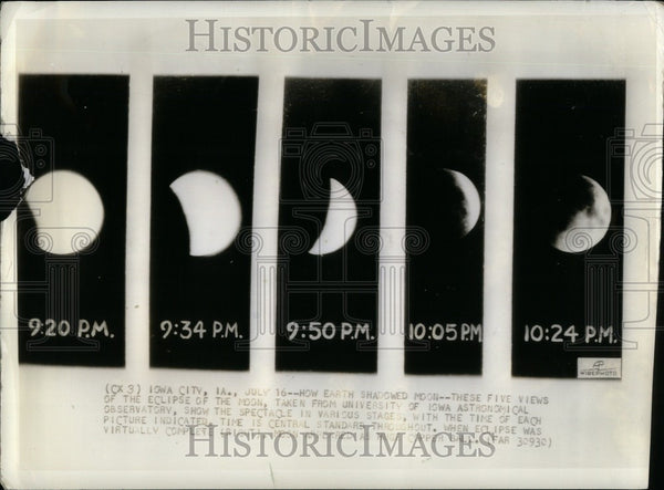 1935 Press Photo eclipse moon Univ of Iowa observatory - Historic Images
