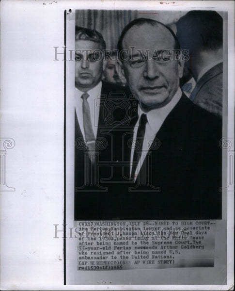 1965 Press Photo Abe Fortas Washington lawyer 55 court - Historic Images