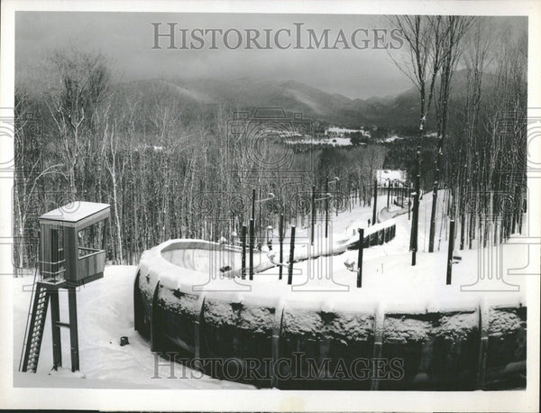 1980 Press Photo Olympic luge run Winter Olympic Games - Historic Images