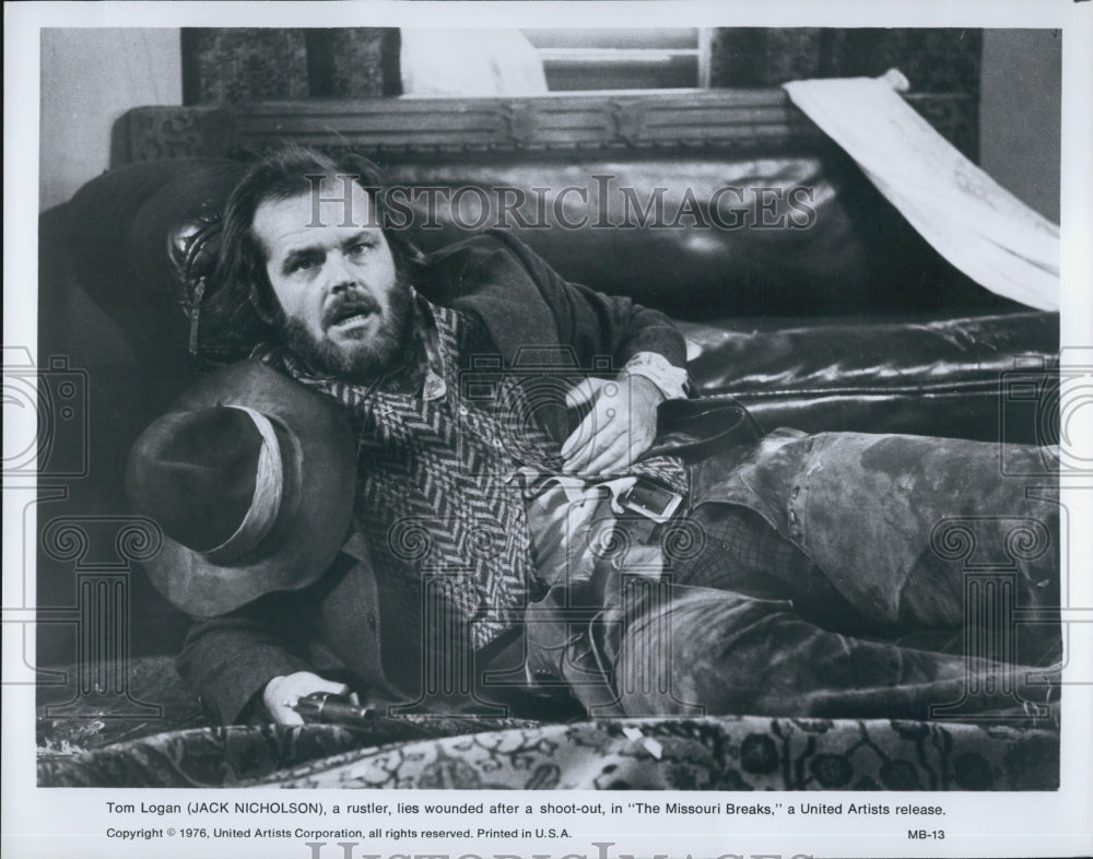"1976 Press Photo Jack Nicholson in ""The Missouri Breaks"" - Historic Images"