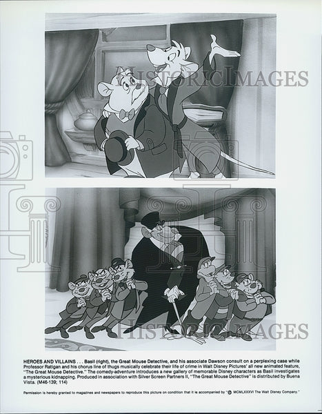 "1986 Press Photo Daswon, Professor Ratigan, Basil ""The Great Mouse Detective"" - Historic Images"