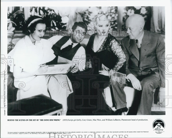"1933 Press Photo ""She Done Him Wrong"" Cary Grant, Mae West, Willam LeBaron - Historic Images"