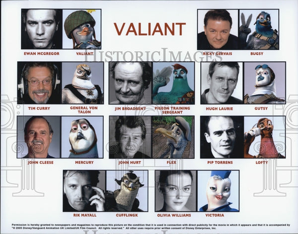 "2005 Press Photo  ""Valiant"" E McGregor,R Gervais,T Curry, J Broadbent,H Laurie - Historic Images"