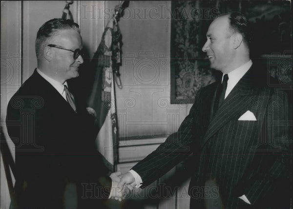 1954 Press Photo M.Caillavet (Right) and M. Andre Monteil ,of France - KSB05129 - Historic Images