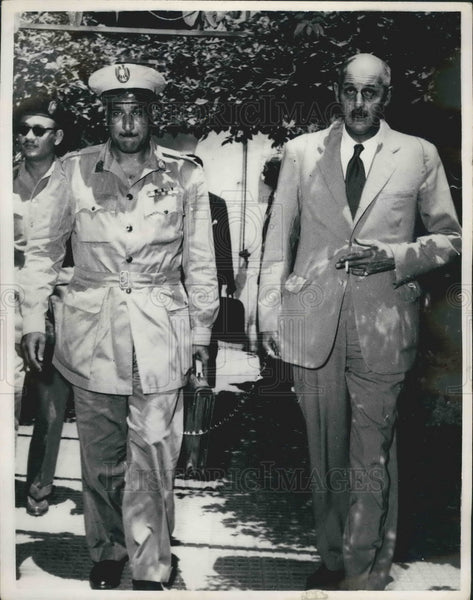 1954 Egyptian Prime Minister Nasser & General Benson - Historic Images