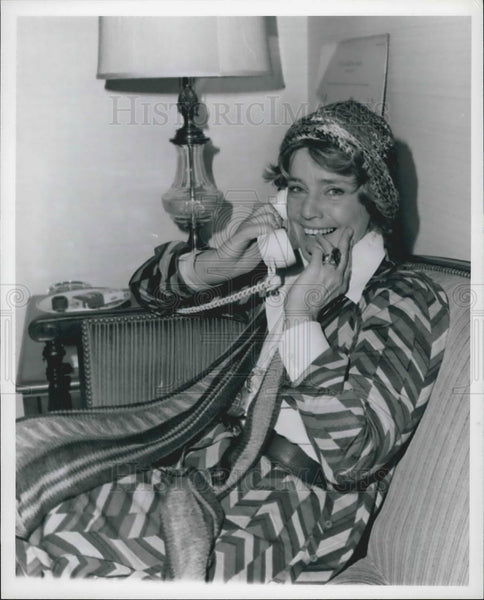 Press Photo Actress Maria Schell On Telephone At Home At Essex House - KSB11135 - Historic Images