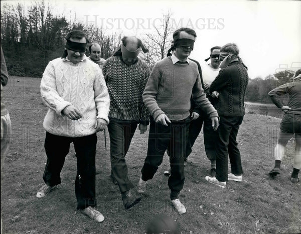 Press Photo business men play blind football to learn teamwork - KSB19507 - Historic Images